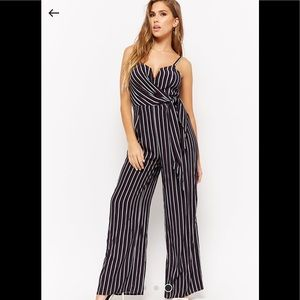 Striped Surplice Jumpsuit size medium